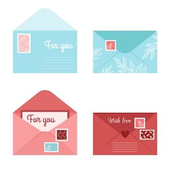 Stellen sie romantische briefumschlagbrief und postkarten ein. isolierte offene umschläge mit stempeln und siegeln