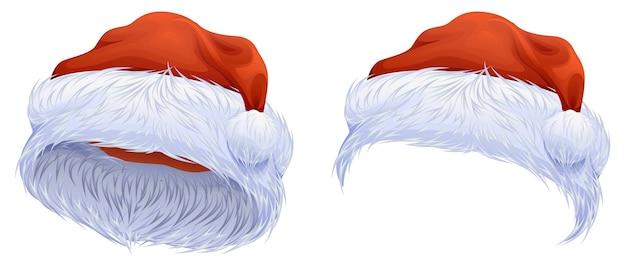 Stellen sie rote weihnachtsmütze ein. auf weiß isoliert