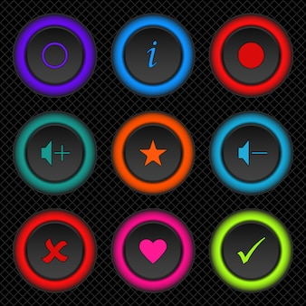 Stellen sie runde farbige web-schaltflächen für ihre app oder website ein