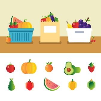 Stellen sie sammlung der bunten gesunden früchte mit korbpapiertüte und -behälter ein