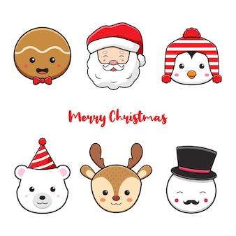 Stellen sie sammlung der netten weihnachtscharakterkopfgekritzelkarikaturikonenillustration ein