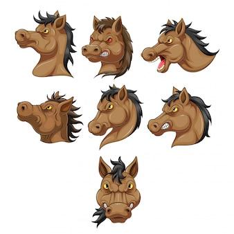 Stellen sie sammlung des kopfes einer pferdekarikatur ein