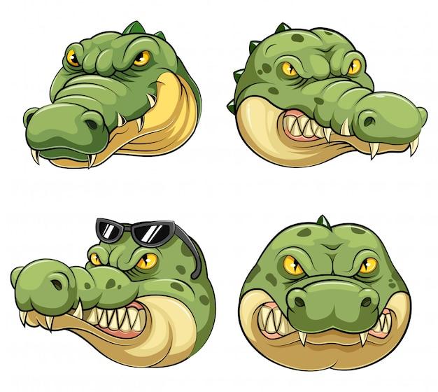 Stellen sie sammlung des maskottchen-kopfes eines krokodils ein