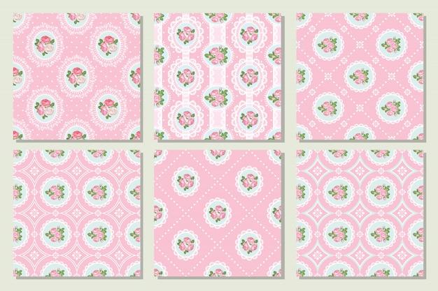 Stellen sie sammlung des nahtlosen musters der shabby chic-rose in der rosa farbe ein