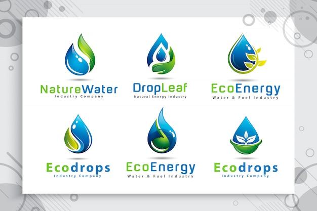 Stellen sie sammlung des naturwassertropfenlogos mit modernem artfarbkonzept ein.