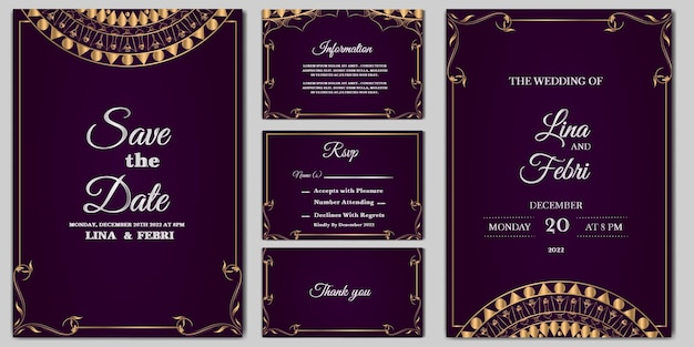 Stellen sie sammlung luxushochzeitseinladungskartenschablone ein