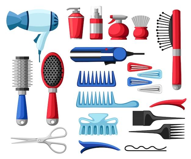 Stellen sie sammlung von professionellen friseur- und friseurausrüstungswerkzeugen ein, die friseurwerkzeuge scherenfönkammflaschen- und -rohr-haarnadelillustration auf weißem hintergrund