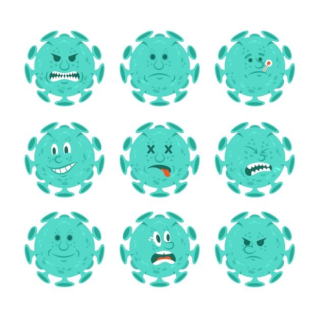 Stellen sie sammlung von zeichentrickfiguren von coronavirus-infektiösen bakterien im emoji-stil ein.