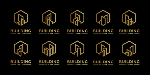 Stellen sie sammlungsimmobilienlogodesign mit strichgrafikstil ein. stadtgebäude abstrakt für logo-design-inspiration und visitenkarte