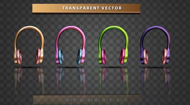 Stellen sie sammlungsmikrofon farbenfrohen transparenten hintergrund ein