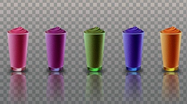 Stellen sie sammlungsmischungs-smoothie im transparenten hintergrund der glasbecherillustration ein