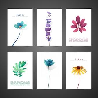 Stellen sie schablonendesignkarte mit blumendekor ein. einladungsset mit minimalem design.