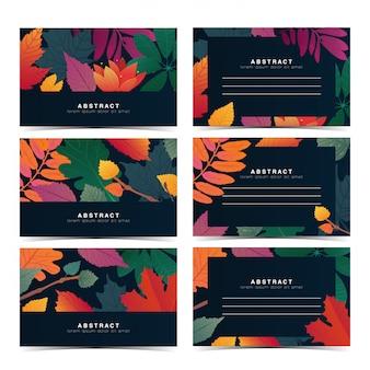 Stellen sie schabloneneinladungskarte mit fallblattmuster ein. individuelle geschenkkarte mit herbstblume und kraut