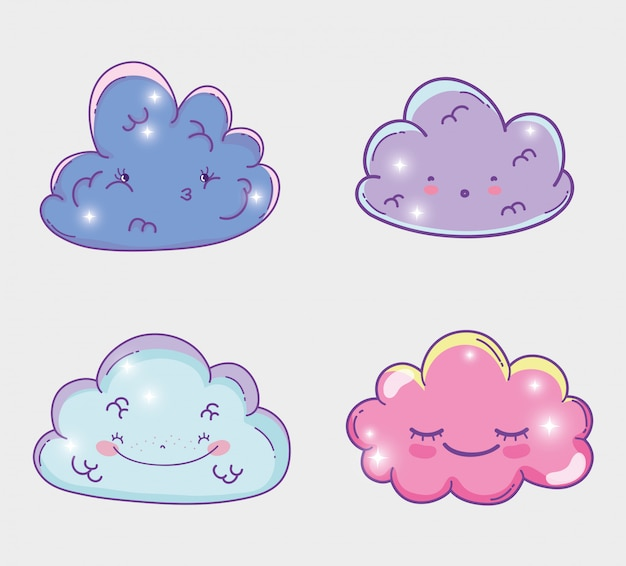 Stellen sie schönheit kawaii flauschige wolken ein