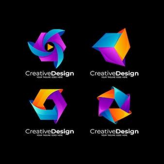 Stellen sie sechseck-logo mit bunten ikonen 3d, abstrakte entwurfsillustration ein