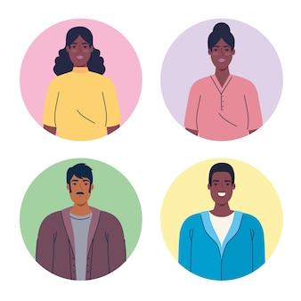 Stellen sie sich multiethnische menschen in runden rahmen, vielfalt und multikulturalismus vor