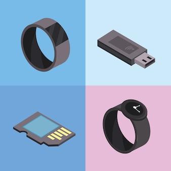 Stellen sie smartwatch- und usb-technologien ein