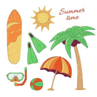 Stellen sie sommer strand aktivurlaub und meer tauchen surfen reisen. illustration