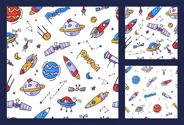 Stellen sie space nahtloses musterdruckdesign ein. gekritzelillustrationsdesign für modestoffe, textilgrafiken, drucke.