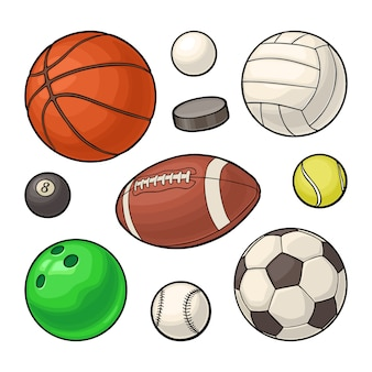 Stellen sie sportbälle-symbole ein. vektorfarbillustration. auf weiß isoliert
