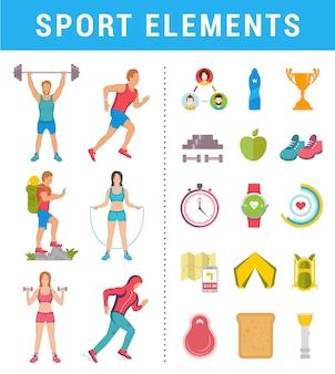 Stellen sie sportler mit symbolen und elementen ein