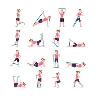 Stellen sie sportliche frau ein, die verschiedene übungen mit widerstand bandmädchen-training im fitnessstudio macht, das training des gesunden hintergrundkonzepts des gesunden lebensstilkonzepts streckt