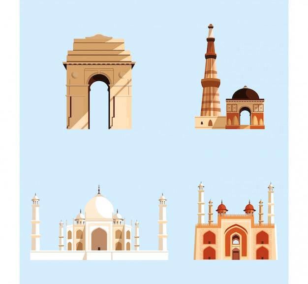 Stellen sie strukturen ein, die indische architektur emblematisch sind