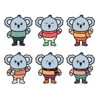 Stellen sie süßen koala mit herbstkonzeptillustration ein