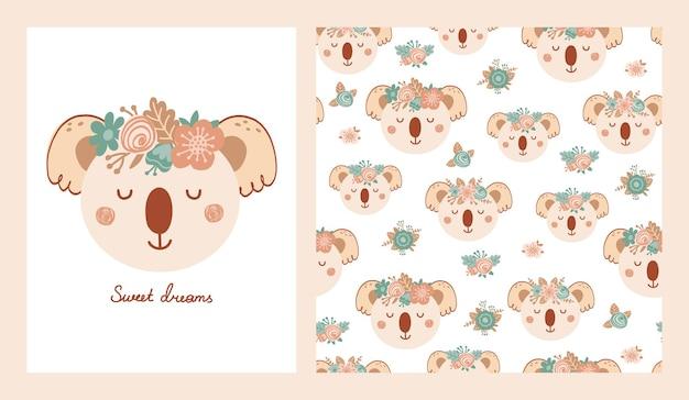 Stellen sie süßes poster und nahtloses muster mit koala-gesicht und poster mit der aufschrift sweet dreams ein. kollektion mit tier im flachen stil für kinderkleidung, textilien, tapeten. vektorillustration