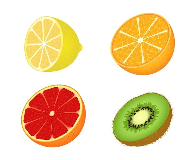 Stellen sie symbole der früchte lokalisiert auf weißem hintergrund ein. flacher stil.