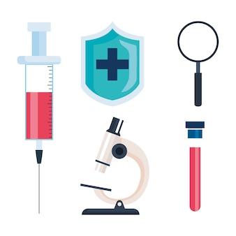 Stellen sie symbole der medizinischen impfstoffforschung, illustration der wissenschaftlichen viruspräventionsstudie ein