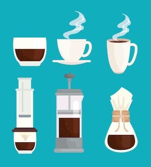 Stellen sie symbole des entwurfs der kaffeebrühmethoden ein