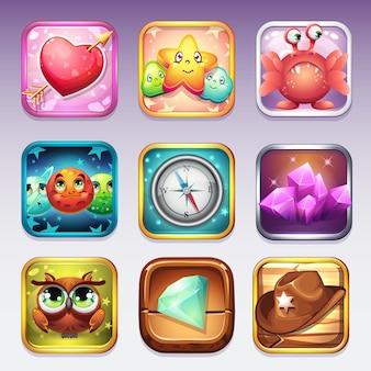 Stellen sie symbole für den app store und google play auf computerspiele zu verschiedenen themen ein