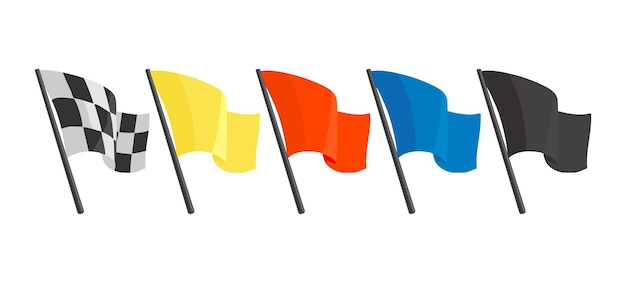Stellen sie symbole mit verschiedenen flaggen für das rennen ein. flache vektorgrafik