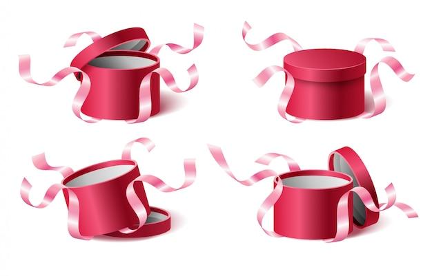 Stellen sie symbole rosa geschenkbox mit bändern und geschlossenem und geöffnetem deckel ein