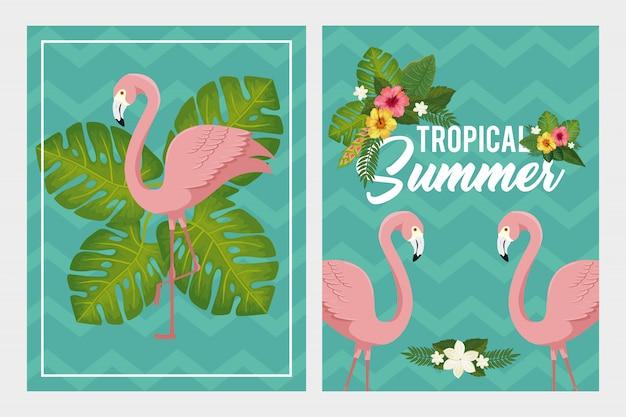 Stellen sie szenen der tropischen sommerillustration mit flamingos und blumen ein