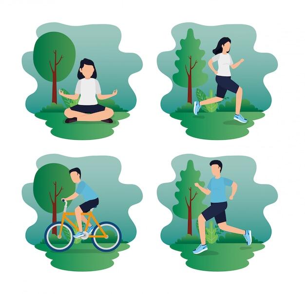 Stellen sie szenen des gesunden lebensstils mit athleten im park ein