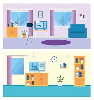 Stellen sie szenen des wohnzimmers mit möbeln und dekoration ein