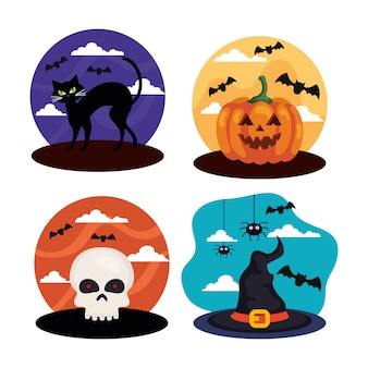 Stellen sie szenen für eine fröhliche halloween-feier ein