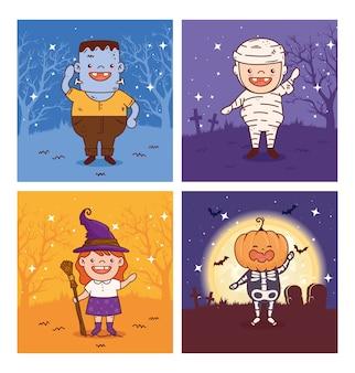 Stellen sie szenen von kindern ein, die für eine fröhliche halloween-feier verkleidet sind