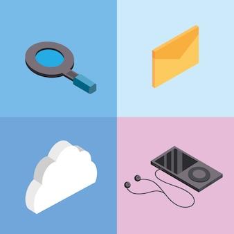 Stellen sie technologie-datendienst-verbindungssymbole ein