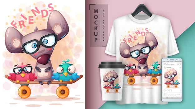 Stellen sie tierillustration für t-shirt und merchandising ein