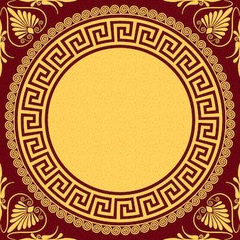 Stellen sie traditionelles goldenes rundes griechisches ornament des vintage (mäander) und blumenmuster auf einen roten hintergrund ein