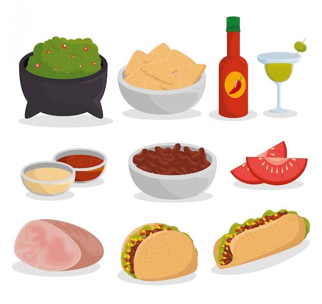 Stellen sie traditionelles mexikanisches essen zur ereignisfeier ein