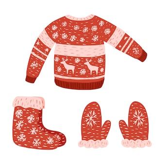 Stellen sie tragen retro-weihnachten auf weißem hintergrund ein. pullover, fäustling und socke aus wollskizze handgezeichnet im stil gekritzel.