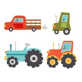Stellen sie traktoren für landwirtschaftliche maschinen ein. ländlicher verkehr. vector hand zeichnen clipart