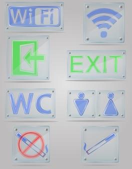 Stellen sie transparente zeichen der ikonen für öffentliche orte auf der plattenvektorillustration ein