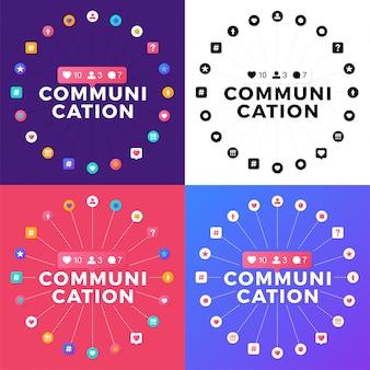 Stellen sie vektorillustration eines social media-kommunikationskonzeptes ein. kommunikationswort mit sozialer aktivität, die in einem kreis angeordnet sind.