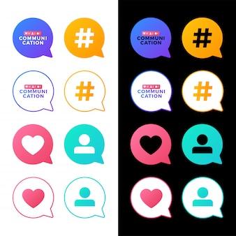 Stellen sie vektorillustration eines social media-kommunikationskonzeptes ein. kommunikationswort mit sozialer aktivität in einer mitteilungsblase.