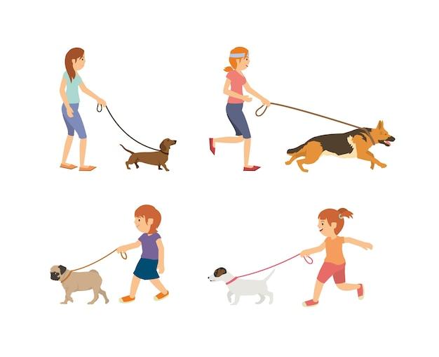 Stellen sie vektorjugendlich und -kinder ein, die mit hunden gehen